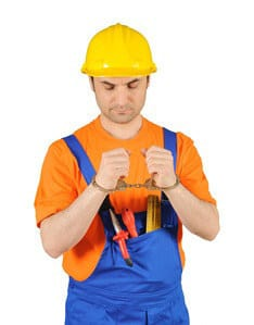 Is it a crime if a contractor stops working?